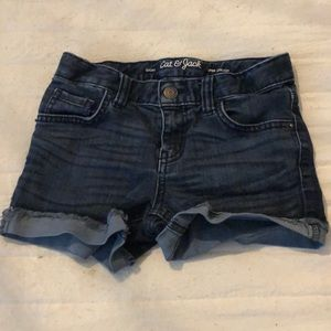Navy blue and white jean shorts